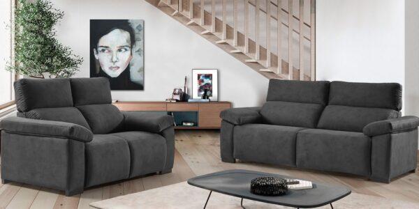 Sofagrup dos sofas oscuros Tesla